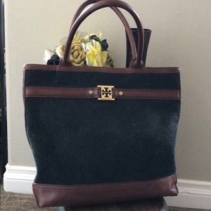 Tory Burch leather/flannel tote